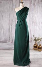 casual One-shoulder Chiffon long Bridesmaid Dress