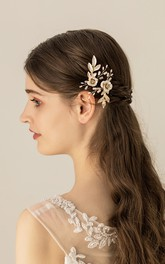 Forest Style Golden Hair Pins with Leaves and Flowers