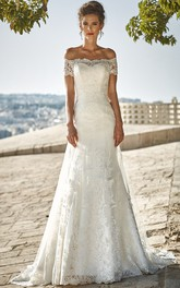 Off-the-shoulder A-line Lace Wedding Dress With Sweep Train