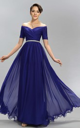 A-line Floor-length V-neck T-shirt Half Sleeve Chiffon Dress with Pleats