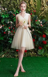 Bateau V-neck Off-the-shoulder Tulle Knee-length Homecoming Dress With Ruching