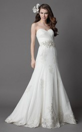 Bridal Lace Appliqued Fit-And-Flare Sweetheart Dress