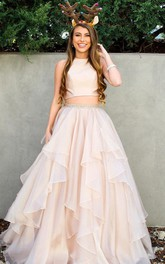 A Line Sleeveless Satin Organza Casual Evening Dress with Beading