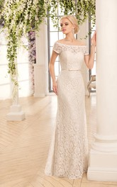 Off-The-Shoulder Lace Floor-Length Sheath Illusion Dress