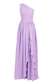 Chiffon Draping Ruched One-Shoulder A-Line Gown