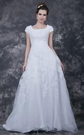 Long Train Modest Vintage-Inspire Bridesmaid Dress
