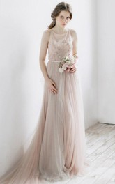 Pleated Illusion Back Tulle Ethereal Dress