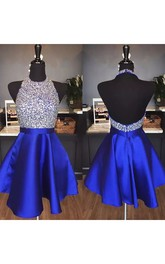 Sleeveless A-line Short Mini Halter Beading Ruffles Satin Homecoming Dress