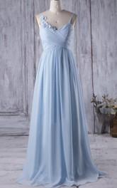Spaghetti Criss-cross Chiffon A-line Bridesmaid Dress With Flower