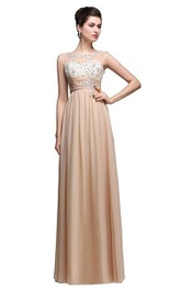 Bateau Sleeveless Sheath Floor-length Dress With Beaded top