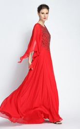 Floor-length A-Line Jewel Long Sleeve Chiffon Prom Dress with Beading and Pleats