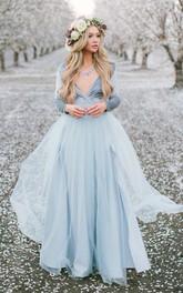 V-neck Jersey Tulle Long Sleeve Floor-length Zipper Prom Dress with Split Front