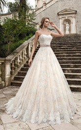 Sleeveless Satin Sash Beading Long A-Line Lace Dress