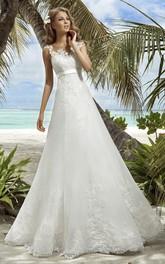 Sleeveless Appliqued Floor-Length A-Line Organza Dress