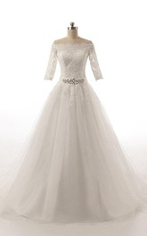 Tulle Appliqued Waist Jewellery Ball-Gown Princess Dress