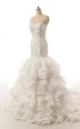 Fishtail Beaded Ruffles Sweetheart Strapless Dress