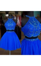 Sleeveless Two Piece Short Mini Halter High Neck Beading Chiffon Homecoming Dress