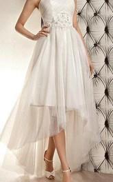 Tulle Open Back Jeweled Band Strapless Sleeveless Dress