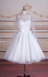 Backless Lace Long-Sleeve Tea-Length Satin Tulle Dress
