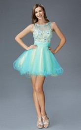 Multi-Color Illusion Tulle Ruffled Appliqued A-Line Short Scoop-Neck Mini Sleeveless Dress