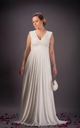 Bridal Chiffon Lace Vintage Ivory Dress