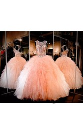 Ball Gown Sleeveless Floor-length Jewel Tulle Prom Dress with Lace-up Keyhole Back