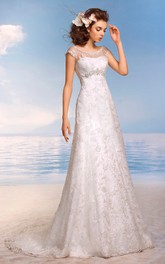 Cap-Sleeve Beaded Lace Appliques Floor-Length A-Line Illusion Dress