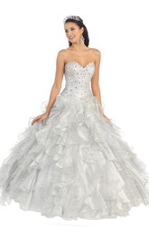 Sweetheart Cascading Ruffled Jeweled Strapless Organza Lace-Up Ball Gown