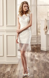 boho Lace Bateau Cap-sleeve short Wedding Dress