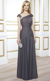 V-Neckline Broach Ruched Floor-Length Mother Of The Bride