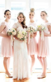 Jewel Cap Lace Short A-Line Keyhole Bell Dress