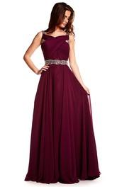 Maxi Beaded Sleeveless Strapped Chiffon Prom Dress