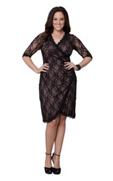 Lace V-neck Half Sleeve side-draped plus size Dress