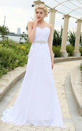 Sweetheart Criss-cross ruched A-line Chiffon Dress With Jeweled Waist And Corset Back