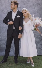 Satin A-line Elegant V-neck Long Sleeve Wedding Dress With Pleats