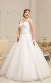 Sleeveless Ruched Rhinestone Floor-Length A-Line Organza Gown