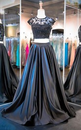 Lace-Bodice Taffeta A-Line Cap-Sleeve Pleated Dress