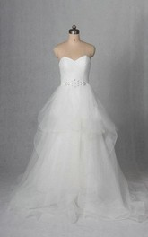 A-Line Beaded Sweetheart Sleeveless Tulle Dress