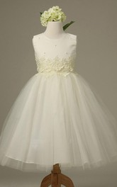 adorable Jewel-Neck Sleeveless A-line Tulle flower girl Dress