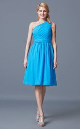 Knee-Length One-Shoulder Ruched Chiffon Bridesmaid Dress