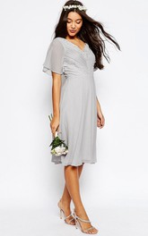V-neck Poet-sleeve Chiffon midi Dress With Ruching And Lace