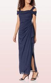 Sheath Sequins Off-the-shoulder Ankle-length Mother of the Bride Dress With Split