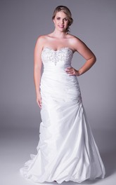 Sweetheart Satin side-draped plus size Gown With Beading And Sweep Train