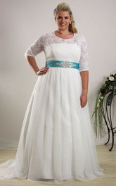 Scoop-neck Half Sleeve Lace plus size Wedding Dress With Embellished Waist