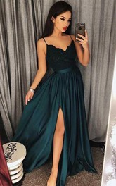 V-neck Satin Lace Sleeveless Floor-length Lace Pleats Split Front Dress