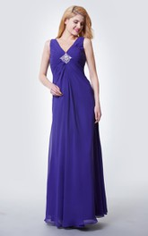 Wonderful V Neck Ruched Empire Waist Long Chiffon Dress With Beaded Brooch