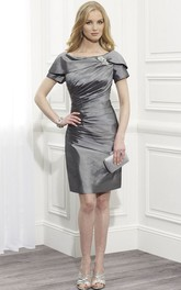 Short-Sleeve Broach Bateau-Neckline Midi-Length Mother Of The Bride