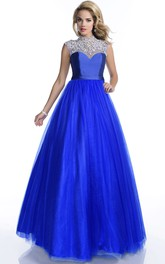 Sophisticated Rhinestones Appliqued A-Line Cap-Sleeve Tulle High-Neck Formal Dress