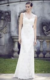 Lace Floor-Length Deep-V-Neckline Cap-Sleeve Long Dress