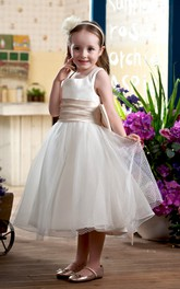 Ruched Waist Sleeveless Bateau-Neckline Flower Girl Dress